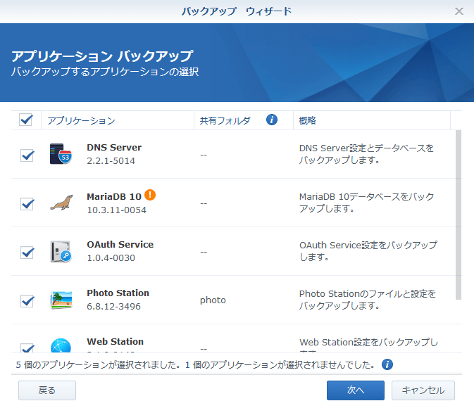 Synology DS218 バックアップ アプリケーションのバックアップ